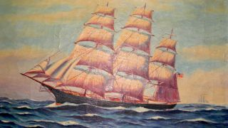 Bruce Ritchie 1940 4 Masted Ship Oil Painting Great Detail photo