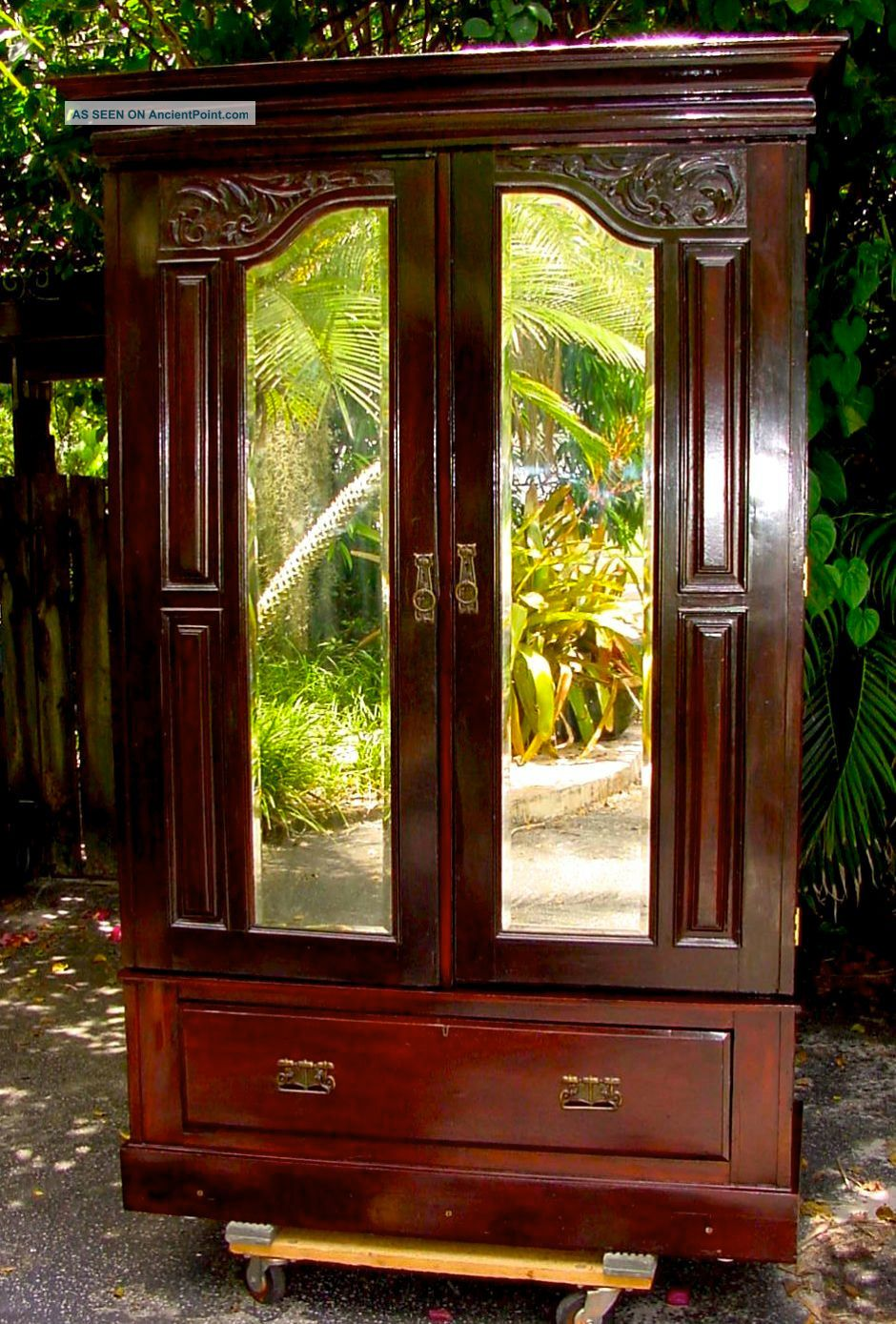 Antique 1880s Armoire Wardrobe W Mirrored Doors U0026 Drawer Base Excellent Cond