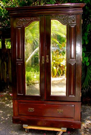 Antique 1880s Armoire Wardrobe W Mirrored Doors & Drawer Base Excellent Cond photo
