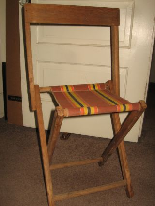 Vintage Solid Oak Folding Chair & Canvas Seat,  Camping Chair,  Stool, photo