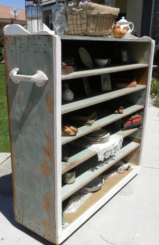 Repurposed Upcycled Vintage Shabby Rustic Farmhouse Shelves Cabinet Industrial photo
