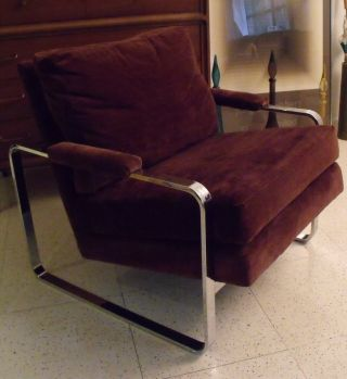 Modern Mid Century Chrome Lounge Chair Milo Baughman Thayer Coggin Outstanding photo