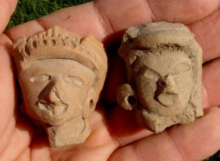 Head Figures,  Pair.  Chupicuaro Pre - Columbian,  Western Mexico photo