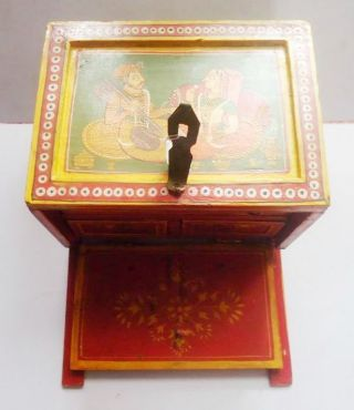 Old Vintage Hand Crafted & Fine Carved Wooden King & Queen Painted Jewelry Box photo