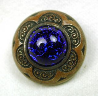Antique Glass In Metal Button Cobalt Blue W/ Brass Floral Border photo