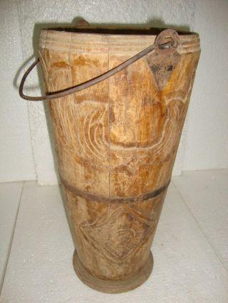 1900s Old Rare Vintage Handmade Wooden Carved Umbrella Keeping Bucket photo
