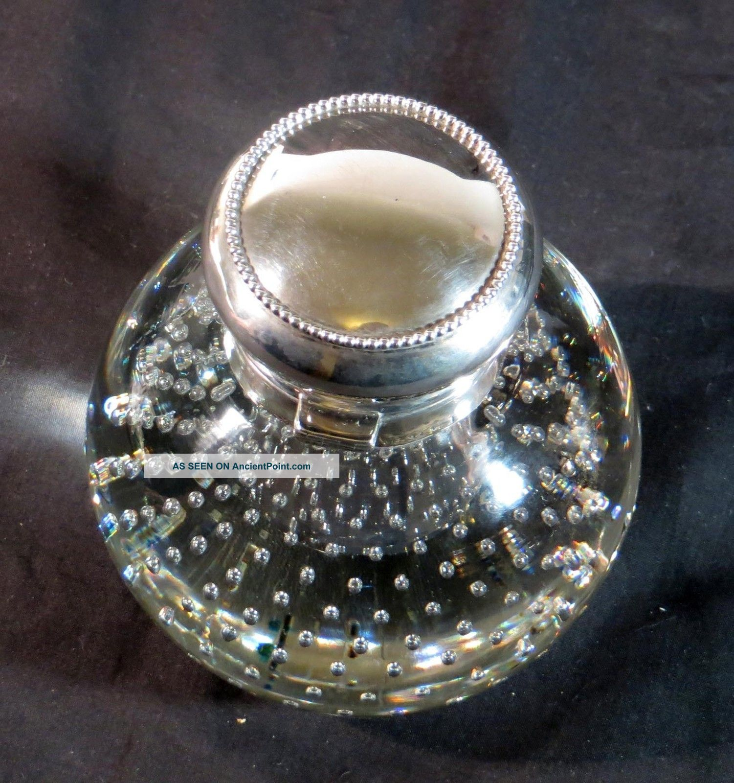 Antique Pairpoint Art Glass Controlled Bubble Crystal Inkwell Sterling Mauser Other photo