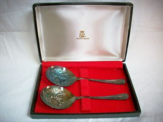 Vintage Silver Sheffield England Serving Spoons With Case photo