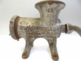 Antique Old Metal Cast Iron Enterprise No 12 Tinned Kitchen Meat Grinder Press photo