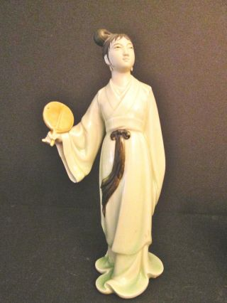 Vintage Mid Century Oriental Chinese Mud Mudd Lady Porcelain Figurine Not Export photo