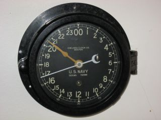 Chelsea Clock Co Boston Us Navy Wwii Porthole Style Bakelite Clock photo