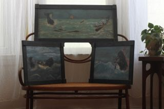 Folk Art Whaling Painting Triptych photo