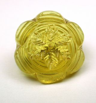 Antique Charmstring Glass Button Lemon Color Flower Mold Swirl Back photo