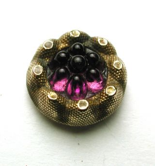 Antique Glass In Metal Amethyst Glass Berry Mold In Brass Design photo