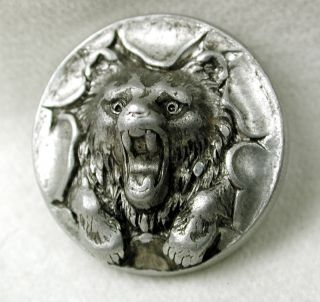 Antique Aluminum Button Snarling Bear Bursting Through A Paper Hoop photo