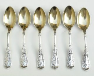 Rare Early Gorham Sterling Silver Mythologique 6 Flatware Table Spoons Gold Gild photo