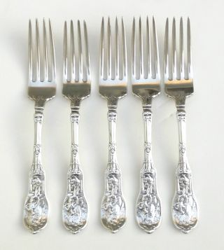 Rare Early Gorham Sterling Silver Mythologique 5 Flatware Dinner Fork Gold Gild photo