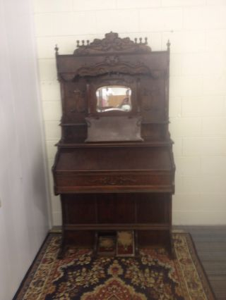 Antique Beckwith High - Back Pump Organ With Ornate Carvings That Still Plays photo