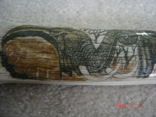Scrimshaw Leg Bone Signed By Artist Elephant Rhino Lion Bison Panther 2.  2 Foot photo