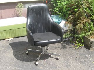 Mid Century Jansko Leather Swivel High Back Chair photo