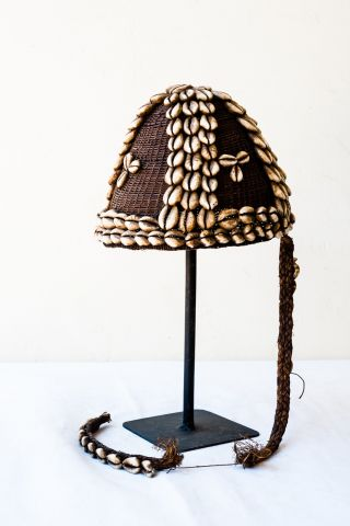 Lega Bwami Hat Of Raffia Fiber With Shells photo