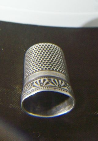 Rare Antique Ketcham Mcdougall New York Coin Silver Thimble photo