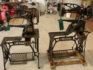 Two Singer 29 - 4 Leather Patcher Treadle Sewing Machines,  Industrial Cylinder Arm photo