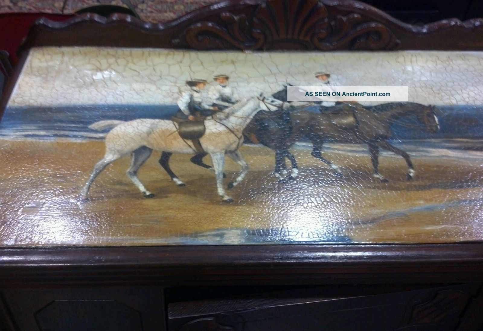 1940 Hand Painted Ladies Riding Sidesaddle On Beach Buffet Server 1900-1950 photo
