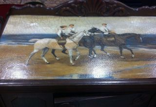 1940 Hand Painted Ladies Riding Sidesaddle On Beach Buffet Server photo