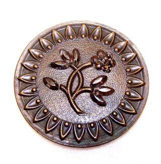 "Vintage Large Metal Button W/faceted Steel Cut Flowers Design 1 & 7/16"" Diameter photo"