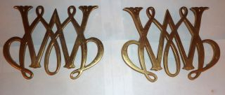 Pair Of 2 Vintage Williamsburg William And Mary Cypher Brass Trivets (1950) photo