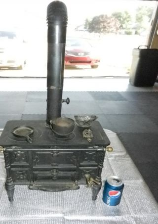 Rare Godin & Cie French Toy Salesmans Sample Miniature Cast Iron & Brass Stove photo