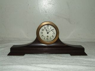 Antique 1912 Wwi Seth Thomas U.  S.  Navy Mini Boat Clock With Mahogany Desk Stand photo