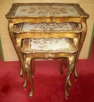 Italian Gold Florentine Nesting Tables - Shabby Cottage - Sticker Italy photo
