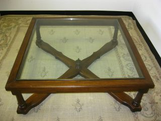 Vintage Oversized Spanish Style Wood & Glass Top Coffee Table Cross Bar &finial photo