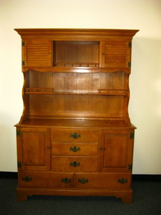 Vintage Ethan Allen Maple Wood Hutch Cupboard Cabinet Buffet Colonial Style photo