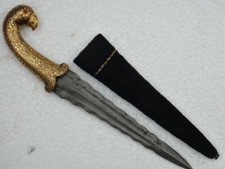 A 19th C Dagger With Gold Damascened Work With Fine Wootz Steel. photo