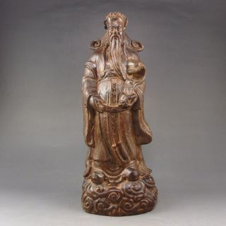Collectibles Hand - Carved Chinese Eaglewood Hard Wood Statue Fortune Taoism Deity photo