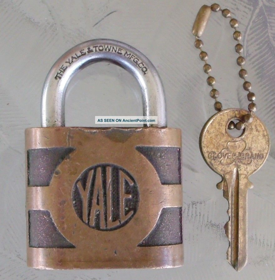 Antique Brass Yale & Towne Padlock & Key Antique Brass Yale Pad Lock