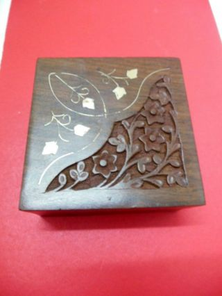 Antique Indian Floral Carving Wooden Box Jewellery Box Rare Collectibles New photo