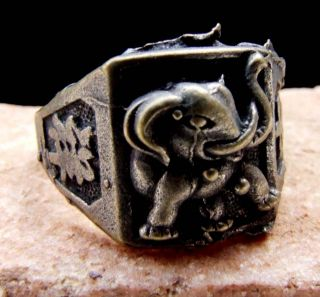 Tibetan Silver Bring Auspicious Omen Characters & Elephant On Ring photo