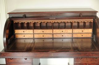 Antique Maple Roll Top Desk With Birdseye Detailing photo