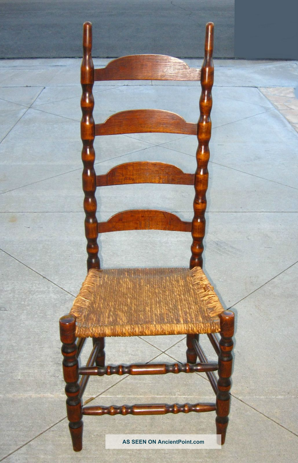 Vintage French Country Style Tall Back Twine Rush Accent Chair /ladderback  Chair
