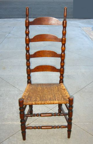 Vintage French Country Style Tall Back Twine Rush Accent Chair /ladderback Chair photo