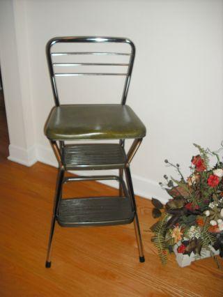 Vintage Cosco Retro Mid Century Metal Chrome Step Ladder Seating Stool Green photo