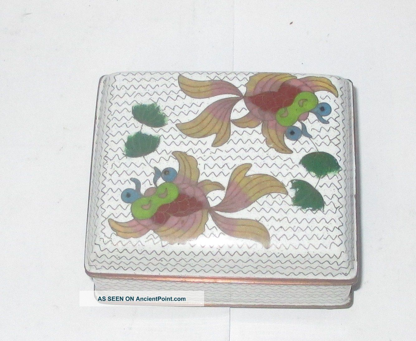 Old Chinese Cloisonne Enamel Koi Fish Design Humidor Footed Jar Box Boxes photo