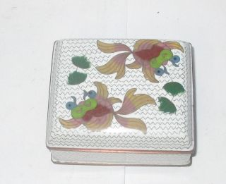 Old Chinese Cloisonne Enamel Koi Fish Design Humidor Footed Jar Box photo