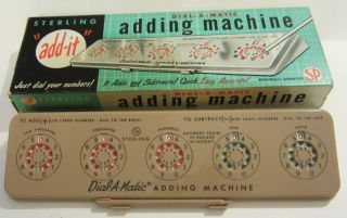 Vintage Sterling Plastics Co Dial - A - Matic Adding Machine No 567 W/box Usa photo