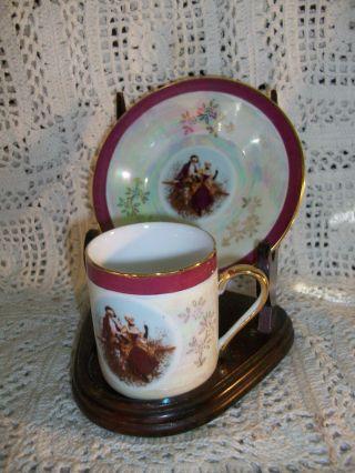 Vintage 6 Porcelain Demi Size Tea Cups & Saucers George Washington Russian Y W/s photo