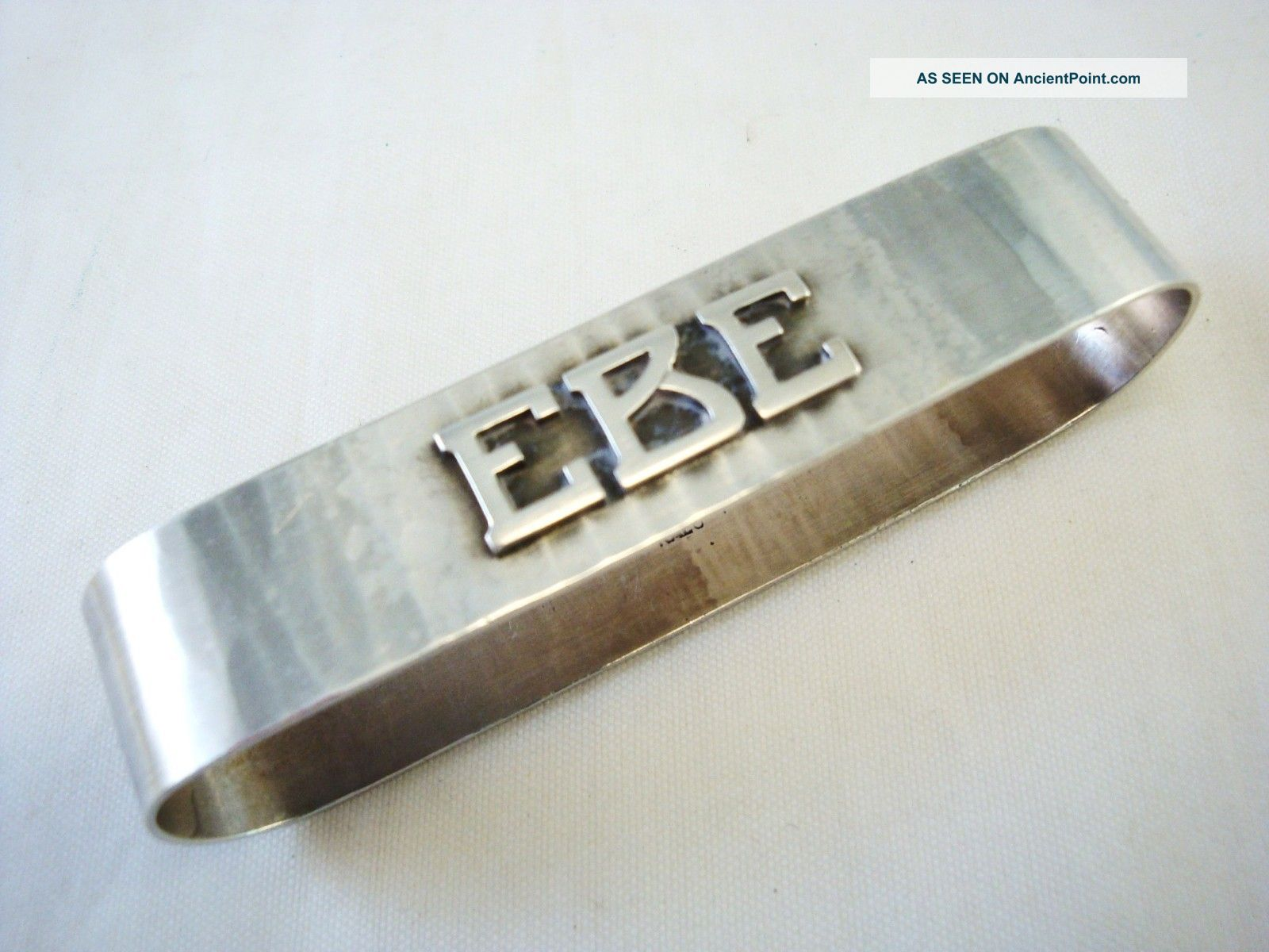 Signed Kalo Initialed Sterling Silver Napkin Ring - Ebe - Arts & Crafts Style Napkin Rings & Clips photo